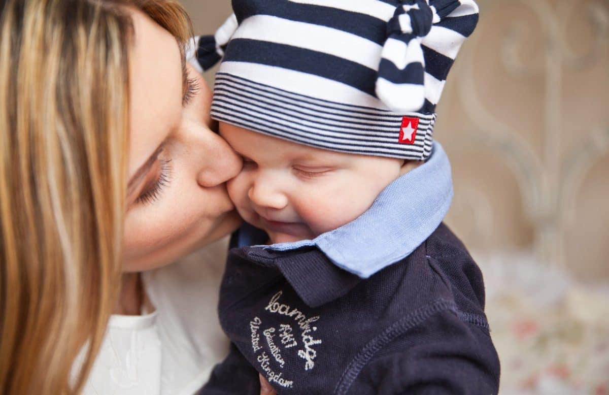 mother child kiss